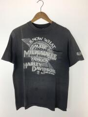 80s/Pabst Blue Ribbon/ヤケ有/Tシャツ/L/コットン/BLK