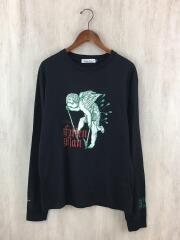 20AW/長袖Tシャツ/3/コットン/ブラック/プリント