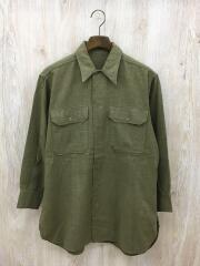 viutage/50s/ウールシャツ/XL/ウール/カーキ/無地