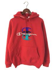 17AW/Stacked C Hooded Sweatshirt/パーカー/M/コットン/レッド