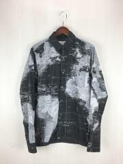 20SS/ワールドマップシャツ/2/ポリエステル/ブラック/総柄