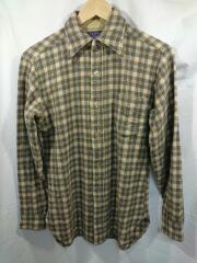 70-80s/ネルシャツ/S/ウール/BEG/チェック