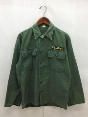 60s/L/S Utility Shirt/ミリタリーシャツ/L/コットン/カーキ