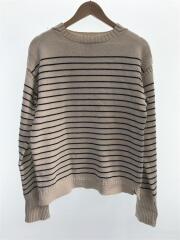 セーター(薄手)/M/コットン/BEG/ボーダー/0162235MMI