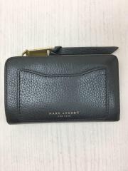 2つ折り財布/レザー/ブラック/無地