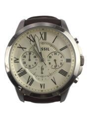 クォーツ腕時計/アナログ/レザー/IVO/BRW