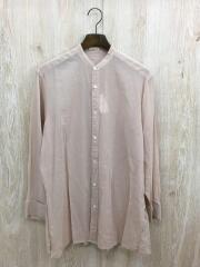 シアーバンドカラーシャツ/長袖シャツ/--/コットン/ピンク
