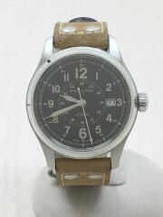 カーキフィールド/自動巻腕時計/レザー/ブラック/ベージュ/H705950/ベルト劣化