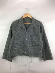 長袖シャツ/1/コットン/ブラック/チェック/襟汚れ有