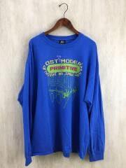 プリントロンT/長袖Tシャツ/XL/コットン/ブルー