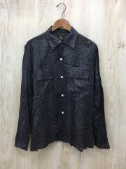 Cut-Off Bottom Classic Shirt/M/ヘンプ/グレー/レオパード/長袖シャツ カットオフ
