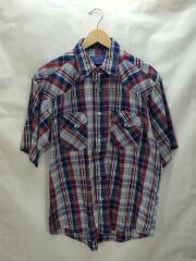 半袖シャツ/M/コットン/マルチカラー/チェック/ウエスタンシャツ/スナップボタン