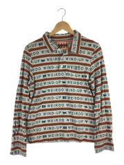 ポロシャツ/S/コットン/WHT/総柄/WRD-13-SS-24/長袖ポロシャツ
