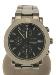 クォーツ腕時計/アナログ/ステンレス/BLK/SLV/GN-4-S
