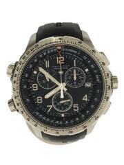 腕時計/アナログ/ラバー/BLK/BLK/クロノグラフ/H779120