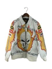19SS/Leathers Ghost Rider Jacket/L/レザー/ホワイト/総柄
