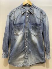長袖シャツ/--/デニム/IDG/無地/18年モデル/オーバーサイズデニムシャツ