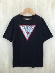 ラバーロゴプリントTシャツ/S/コットン/BLK/MZ2K7702J/ゲス/ブラック/黒