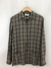 LS開襟シャツ/オープンカラーシャツ/38/レーヨン/BRW/チェック