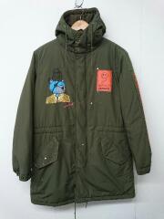 ONE MADE/Hooded Coat/Mikio/手書きペイント/モッズコート/44/コットン/KHK