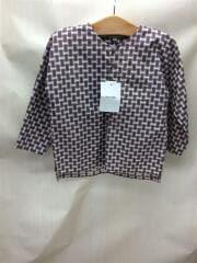 長袖シャツ/US6/コットン/総柄ノーカラーシャツ