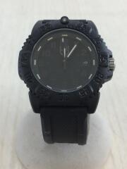 クォーツ腕時計/アナログ/ラバー/ブラック/ブラック