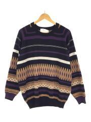 セーター(厚手)/M/アクリル/ブラック/総柄