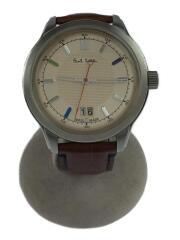 腕時計/アナログ/レザー/クリーム/ブラウン/YA30-S084270
