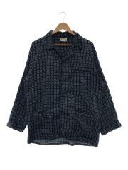 パジャマシャツ/80s/長袖シャツ/M/--/BLU/総柄