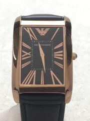 エンポリオアルマーニ/クォーツ腕時計/アナログ/レザー/BLK/BLK/社外ベルト