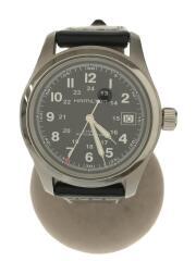 H704450/自動巻腕時計/アナログ/レザー/ブラック/ブラック