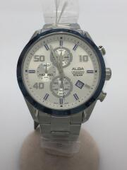 クォーツ腕時計/アナログ/ステンレス/WHT/SLV/VD57-X151