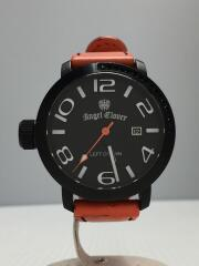 クォーツ腕時計/アナログ/レザー/BLK/ORN/LC45
