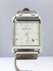 クォーツ腕時計/アナログ/レザー/WHT/BRW/MK-2187