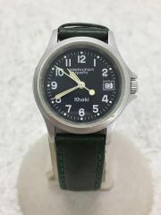 クォーツ腕時計/アナログ/レザー/BLK/GRN