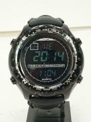 X-LANDER MILITARY/クォーツ腕時計/デジタル/レザー/BLK/BLK
