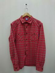 20aw UNDEFEATED L/S FLANNEL /長袖シャツ/L/コットン/RED/チェック