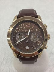 クォーツ腕時計/アナログ/レザー/BLK/MK-8362