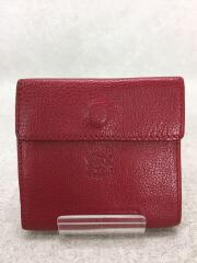 2つ折り財布/レザー/RED/無地