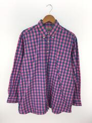 長袖シャツ/16.5/コットン/ピンク/チェックボタンダウンシャツ/USA製