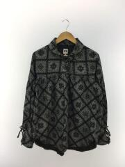 長袖シャツ/S/コットン/BLK/総柄/String Shirt