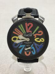 手巻腕時計/アナログ/レザー/BLK/BLK