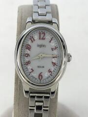 ingenu/ソーラー腕時計/アナログ/ステンレス/WHT/SLV/中古