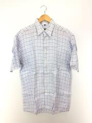 半袖シャツ/L/リネン/BLU/チェック/中古