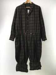 19SS/ジャンプスーツ/メンズ衣料/46/コットン/KHK/チェック/中古