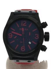 クォーツ腕時計/アナログ/ラバー/BLK/RED