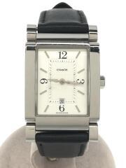 クォーツ腕時計/スクエア/アナログ/WHT/BLK