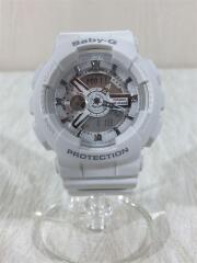 クォーツ腕時計・Baby-G/デジアナ/ラバー/WHT/WHT/BA-110TP-7AJF