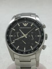 クォーツ腕時計_レザー/アナログ/ステンレス/BLK/SLV/AR5980