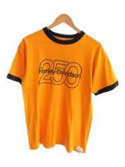 Tシャツ/L/コットン/オレンジ/プリント/リブ/切替/バックプリント/250